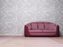 Modern  interior with a violet sofa Stock Photos