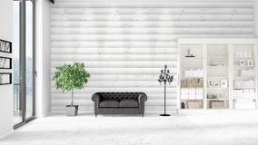 Modern interior in vogue with black leather couch and copyspace in horizontal arrangement. 3D rendering. Royalty Free Stock Images