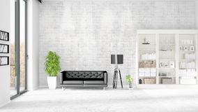 Modern interior in vogue with black leather couch and copyspace in horizontal arrangement. 3D rendering. Stock Photos