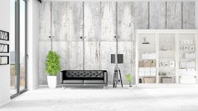 Modern interior in vogue with black leather couch and copyspace in horizontal arrangement. 3D rendering. Royalty Free Stock Photo