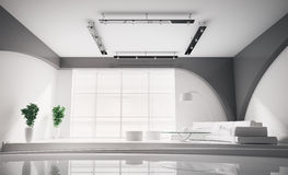 Modern Interior in white 3d Stock Image