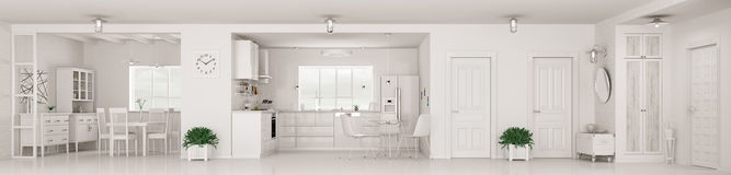 Modern interior of white apartment panorama 3d rendering Stock Image