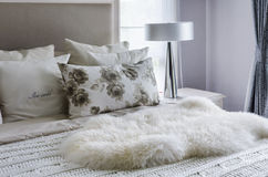 Modern interior white bedroom Stock Image