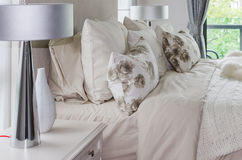 Modern interior white bedroom with lamps Royalty Free Stock Photography