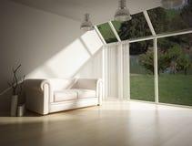Modern interior with white leader sofa Stock Photos