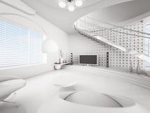 Modern interior of white living room 3d render Stock Photography