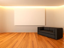 Modern interior white room with white canvas Royalty Free Stock Images