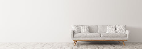 Modern interior with white sofa panorama 3d render Stock Photography