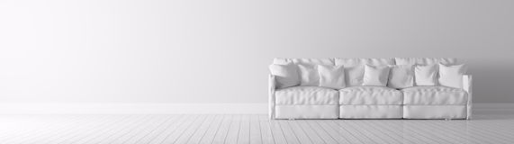 Modern interior with white sofa panorama 3d render Royalty Free Stock Photography