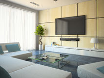 Modern interior with white sofas and lamp. 3D Stock Images