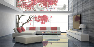 Modern interior with white sofas and pink pillows Stock Photo