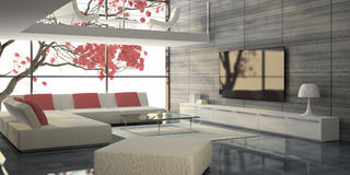 Modern interior with white sofas and pink tree Royalty Free Stock Photos