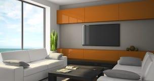 Modern interior with white sofas and seaview Royalty Free Stock Photos