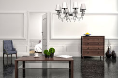 Modern interior with white walls. 3d illustration Royalty Free Stock Images