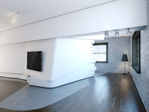 Modern interior. With white walls and wooden floor royalty free stock photography