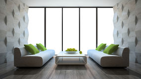 Modern Interior With Two Sofas And Concrete Wall Panels