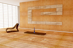 Modern interior with wooden chair Stock Photo