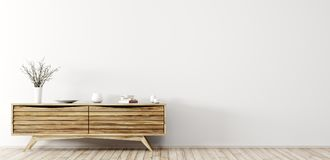 Modern interior with wooden dresser 3d rendering royalty free illustration