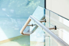Modern interior with wooden stairs Royalty Free Stock Image