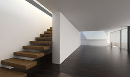 Modern interior with wooden stairs | Interior Architecture Stock Image