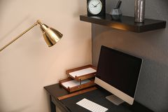 Modern interior of working place royalty free stock photography