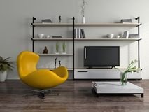 Modern interior with yellow armchair Royalty Free Stock Image