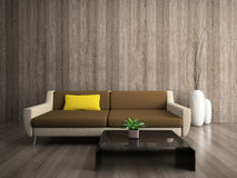 Modern interior with yellow pillow Royalty Free Stock Photo