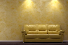 Modern interior with yellow sofa Stock Photos