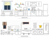 Modern interiors of the kitchen and bathroom. Furniture and accessories. Vector illustration in a linear style. Royalty Free Stock Image