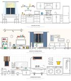 Modern interiors of the kitchen, living room and bathroom. Furniture and accessories. Vector illustration in a linear style. Modern interiors of the kitchen stock illustration