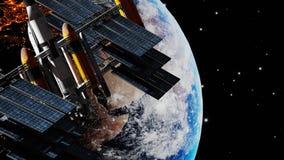 International space station navigation satellite orbiting earth planet