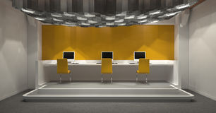Modern internet cafe with yellow and grey decor Royalty Free Stock Photography