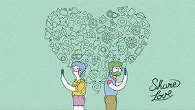 Modern internet love couple concept illustration Royalty Free Stock Photography