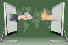 Hi-tech payments concept, two hands from computers. hand with cash money and thumbs up, like. 3d illustration. Modern internet payments concept, hands from Stock Images