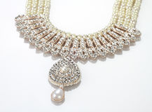 Modern Intricate Indian Jewellery Diamond Necklace Stock Photo