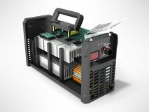 Modern inverter welding machine black disassembled 3d render on Stock Photography