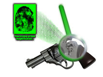 Modern investigation. A revolver with a fingerprint analysed by a computer program that amplifies the fingerprint and searches for coincidences in a database Royalty Free Stock Image