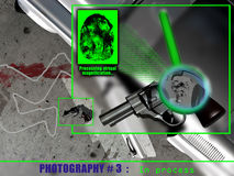 Modern investigation. From a photography taken on a crime scene where was a  revolver with a fingerprint, a computer program amplifies and analyses   the Stock Images