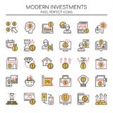 Modern Investments , Thin Line and Pixel Perfect Icons Stock Photos