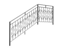 Modern iron banisters, railing. Isolated over white background vector illustration