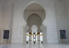 Modern islamic arcade. Arcade that surrounds Abu Dhabi Grand Mosque Royalty Free Stock Photography