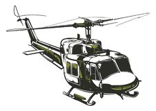 Modern isolated vector illustration Helicopter Stock Images