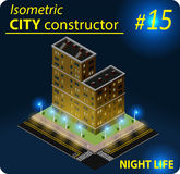 Modern isometric building in night light Royalty Free Stock Photo