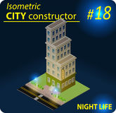 Modern isometric building in night light Royalty Free Stock Image