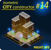 Modern isometric building in night light Stock Photography