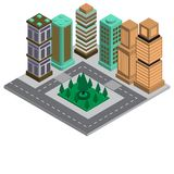 Modern isometric city 3D building intelligent design of apartment royalty free illustration