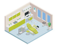 Modern Isometric Dentist Clinic Interior Design. Modern creative dental clinic office space interior design in isometric view Stock Photography
