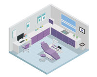 Modern Isometric Dentist Clinic Interior Design. Modern creative dental clinic office space interior design in isometric view Stock Photos