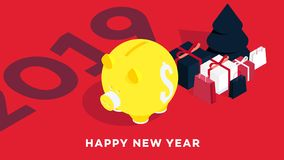 Modern Isometric Happy New Year Background. Yellow Piggy Bank On Red Background. Conceptual Coin Box For 2019 Designs.  Stock Illustration