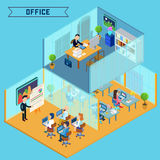 Modern Isometric Office Interior. Businessman at Work Stock Photography
